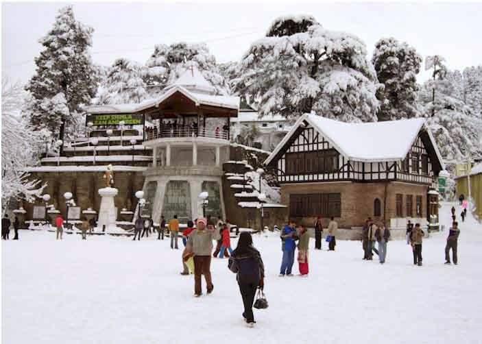 Snowfall at the ridge Shimla