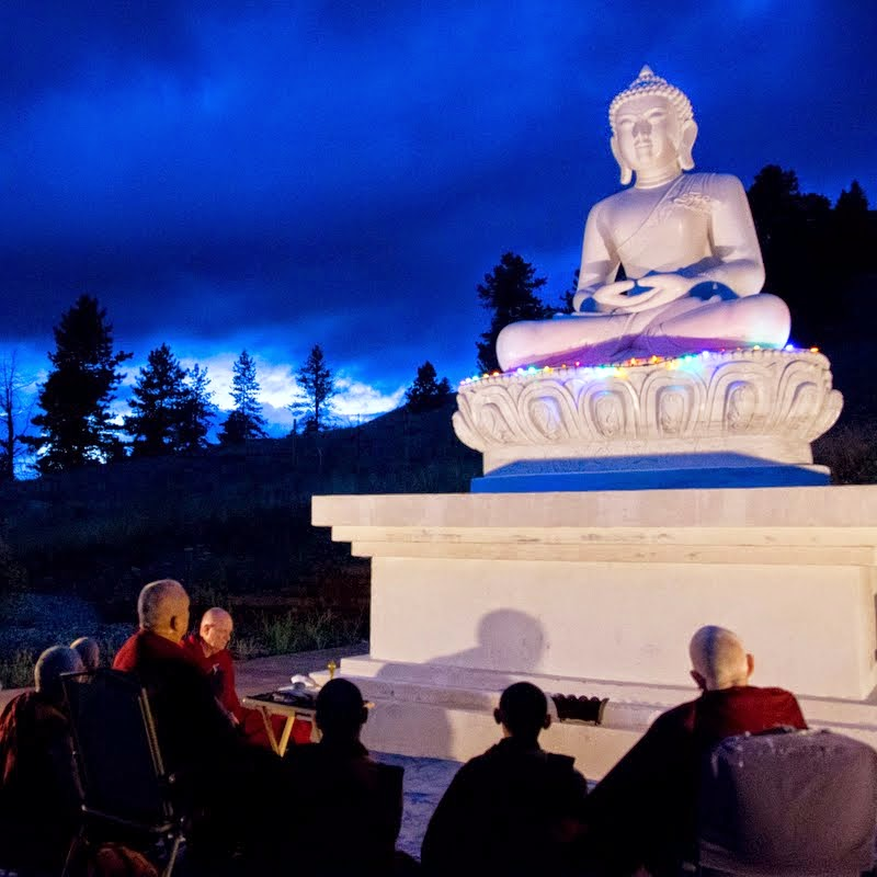 As soon as he arrived in Washington on July 22, Lama Zopa Rinpoche and Sangha made prayers and extensive offerings in front of new Amitabha Buddha statue at Buddha Amitabhe Pure Land, Washington, US, July 2014. Photo by Ven. Thubten Kunsang.