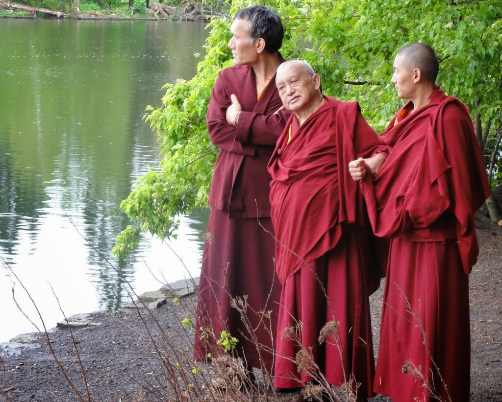 Lama Zopa Rinpoche with Yangsi Rinpoche (on left) and Ven. Sangpo, Crystal Springs Rhododendron Garden, Portland, Oregon, US, April 2014. Photo by Ven. Holly Ansett.