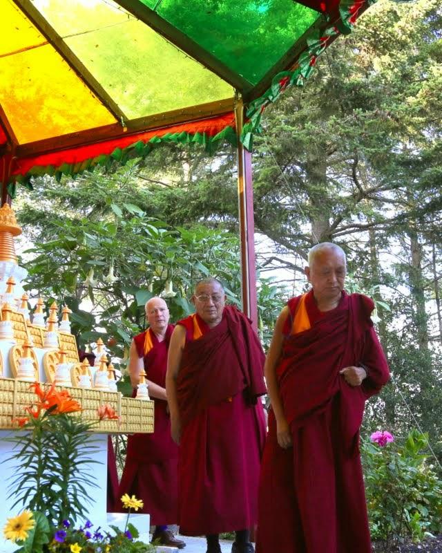Lama Zopa Rinpoche with Geshe Dakpa and Ven. Steve Carlier, Kachoe Dechen Ling, Aptos, California, May 2014. Photo by Ven. Thubten Kunsang.