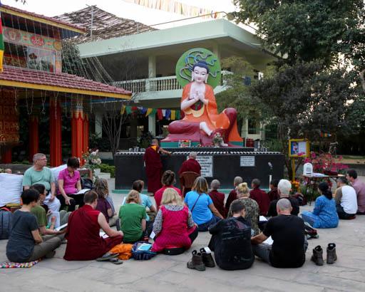 Lama Zopa Rinpoche at Root Institute, Bodhgaya, India, February 2015. Photo by Ven. Thubten Kunsang.
