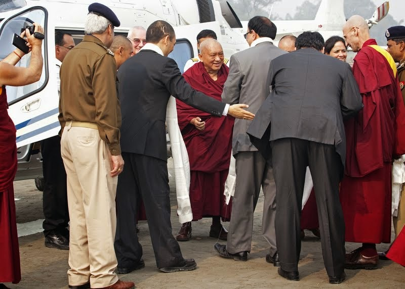 Lama Zopa Rinpoche arriving for Maitreya Project ceremony, Kushinagar, India, December 13, 2013. Photo by Andy Melnic.