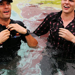 Mark Webber and BBC reporter in pool