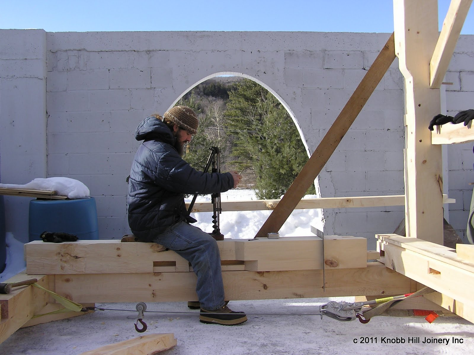 Seth bores out a mortise with his Miller's Falls boring machine.