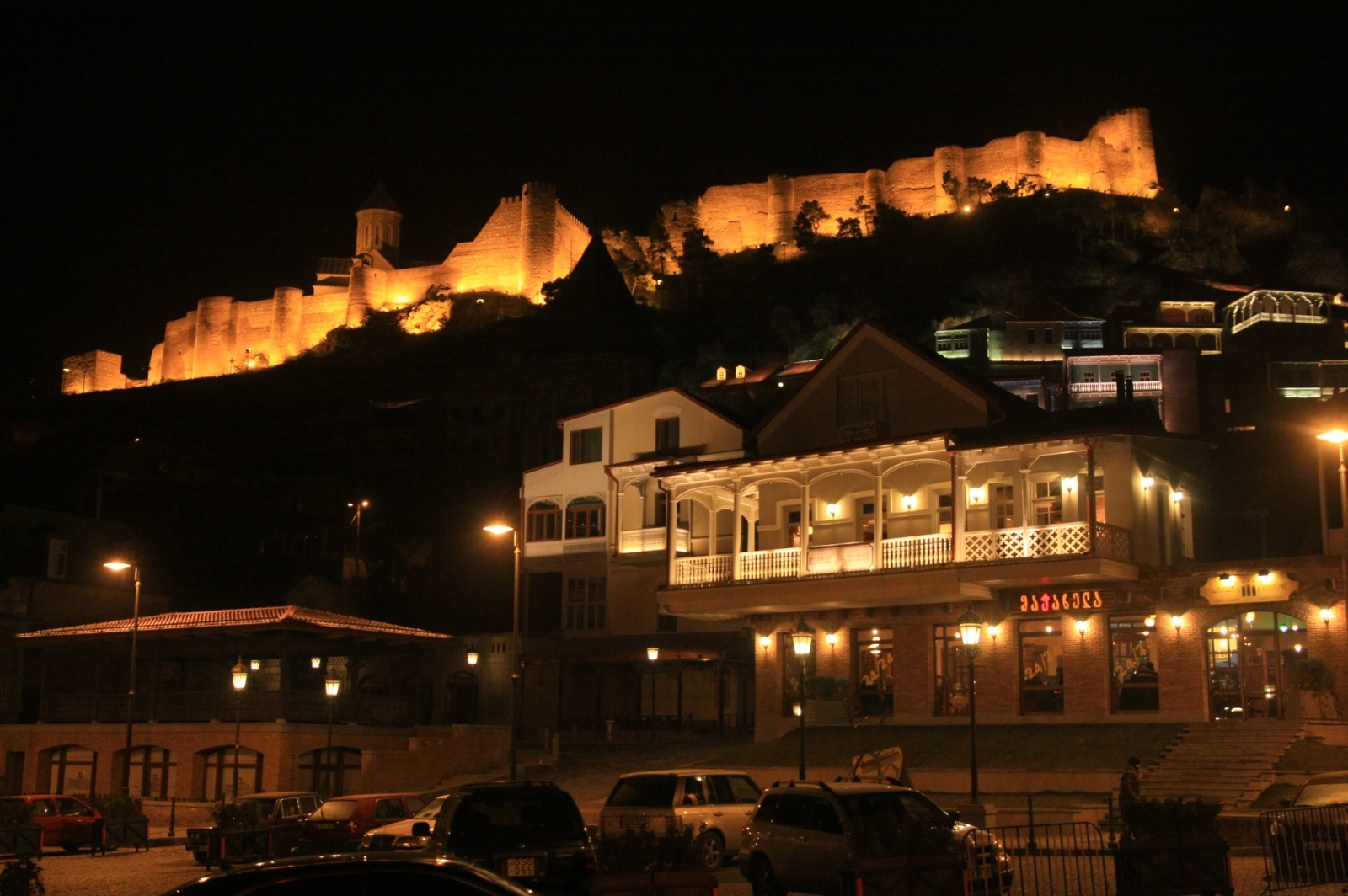 At night, Tbilisi transforms completely thanks to the beautifully-lit buildings