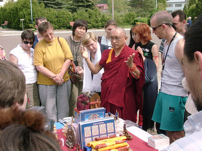 Lama Zopa Rinpoche in Russia leading an animal liberation