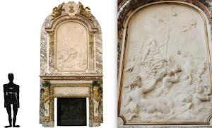 Большой красивый антикварный камин. 19-й век. Мрамор, бронза, патина, позолота. 231/61/457 см