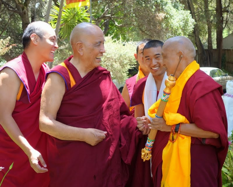 Jangtse Chöje and Lama Zopa Rinpoche at Kachoe Dechen Ling, Aptos, California, June 2014. Photo by Ven. Roger Kunsang.