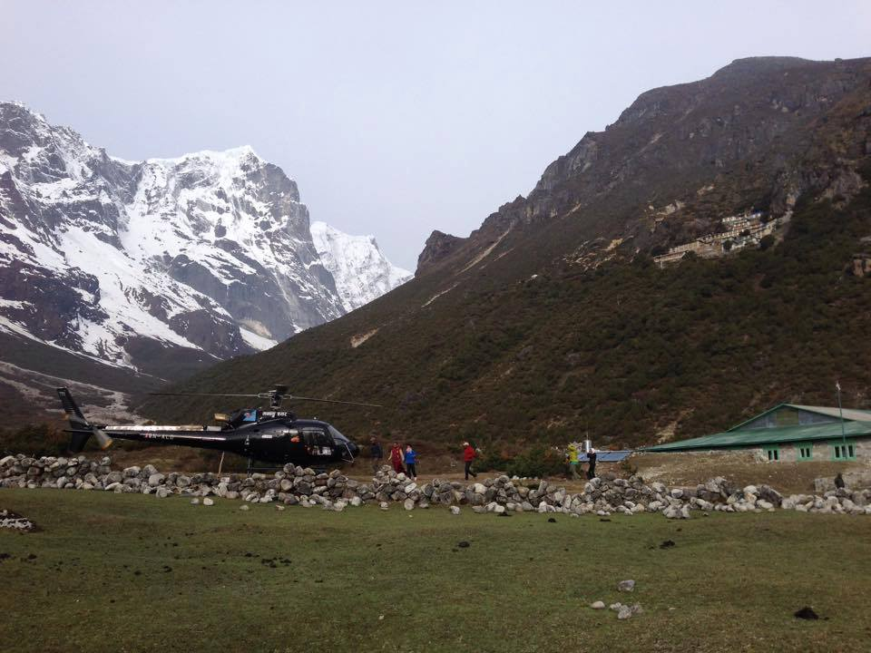 21 helicopters were required to bring food packages to 196 families in Solu Khumbu region of Nepal. Photo by Charok Lama.