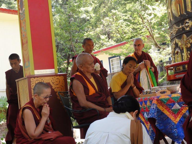 Lama Zopa Rinpoche and Khadro-la consecrating the finished large prayer wheel at Land of Medicine Buddha, June 2012.
