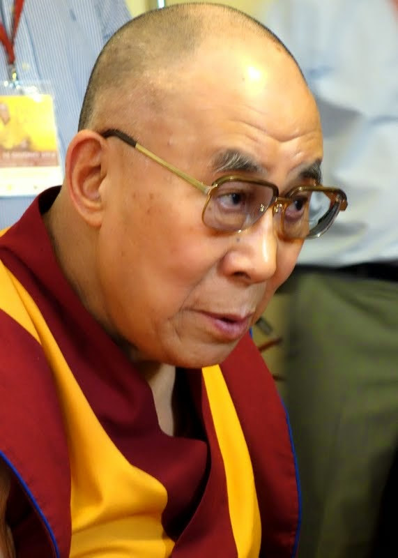 His Holiness the Dalai Lama listening intently to the explanation of the FPMT programs being hosted at Istituto Lama Tzong Khapa, Pomaia, Italy, June 10, 2014. Photo by Ven. Roger Kunsang.