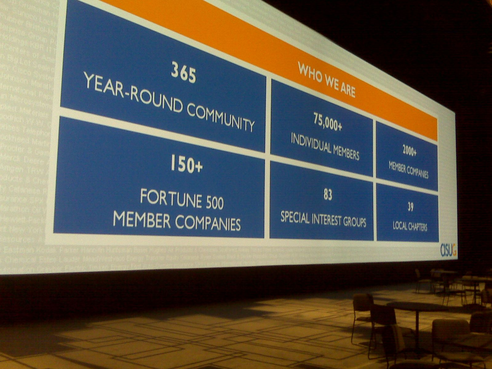 One of the big screens at the convention centre. Its over 40m long!