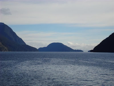 Looking westward about half way along. The gap is one of the channels into the Tasman Sea