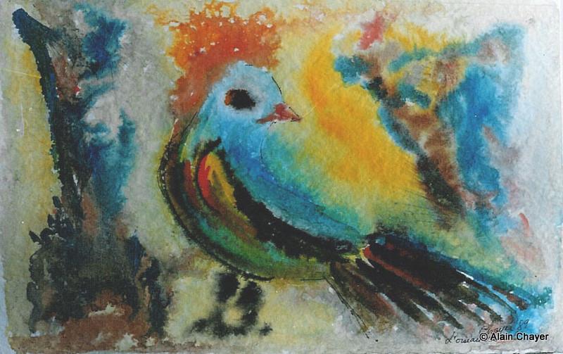 007 - Oiseau Bariolé - 1989 25,5 x 16,6 - Aquarelle