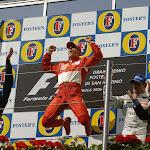 Michael Schumacher jump on the podium