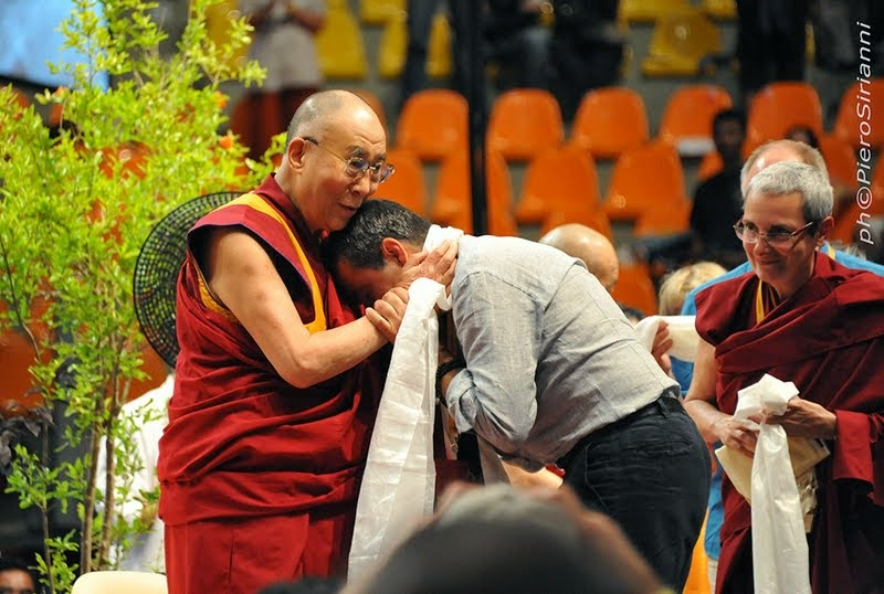 His Holiness the Dalai Lama with Fabrizio Pallotti, Livorno, Italy, June 15, 2014. Photo by Sirianni.
