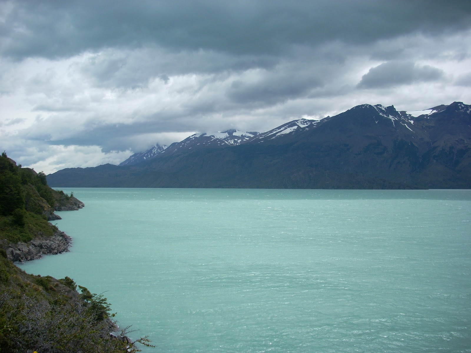 Looking back to Lago O'Higgins. The colour is because it's glacier fed