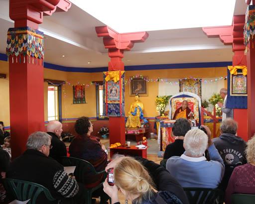 Lama Zopa Rinpoche speaking at De-Tong Ling Retreat Centre, Kangaroo Island, Australia, May 2015. Photo by Ven Thubten Kunsang.