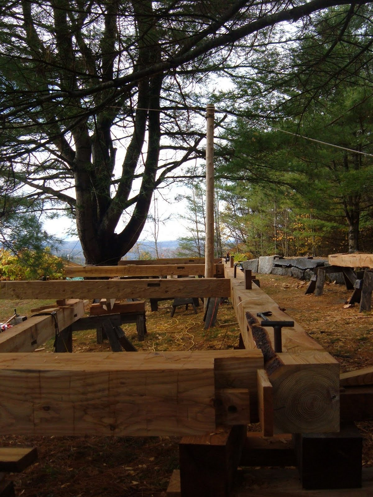 In order to scribe the braces, the posts and plate must be leveled and squared.