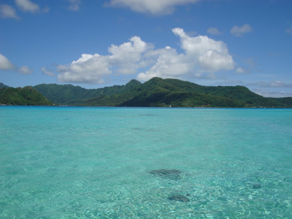 The view back to Tahaa from the motu