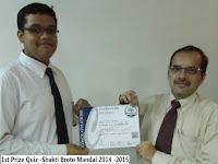 1st Prize Quiz -Shakti Broto Mandal 2014 -2015