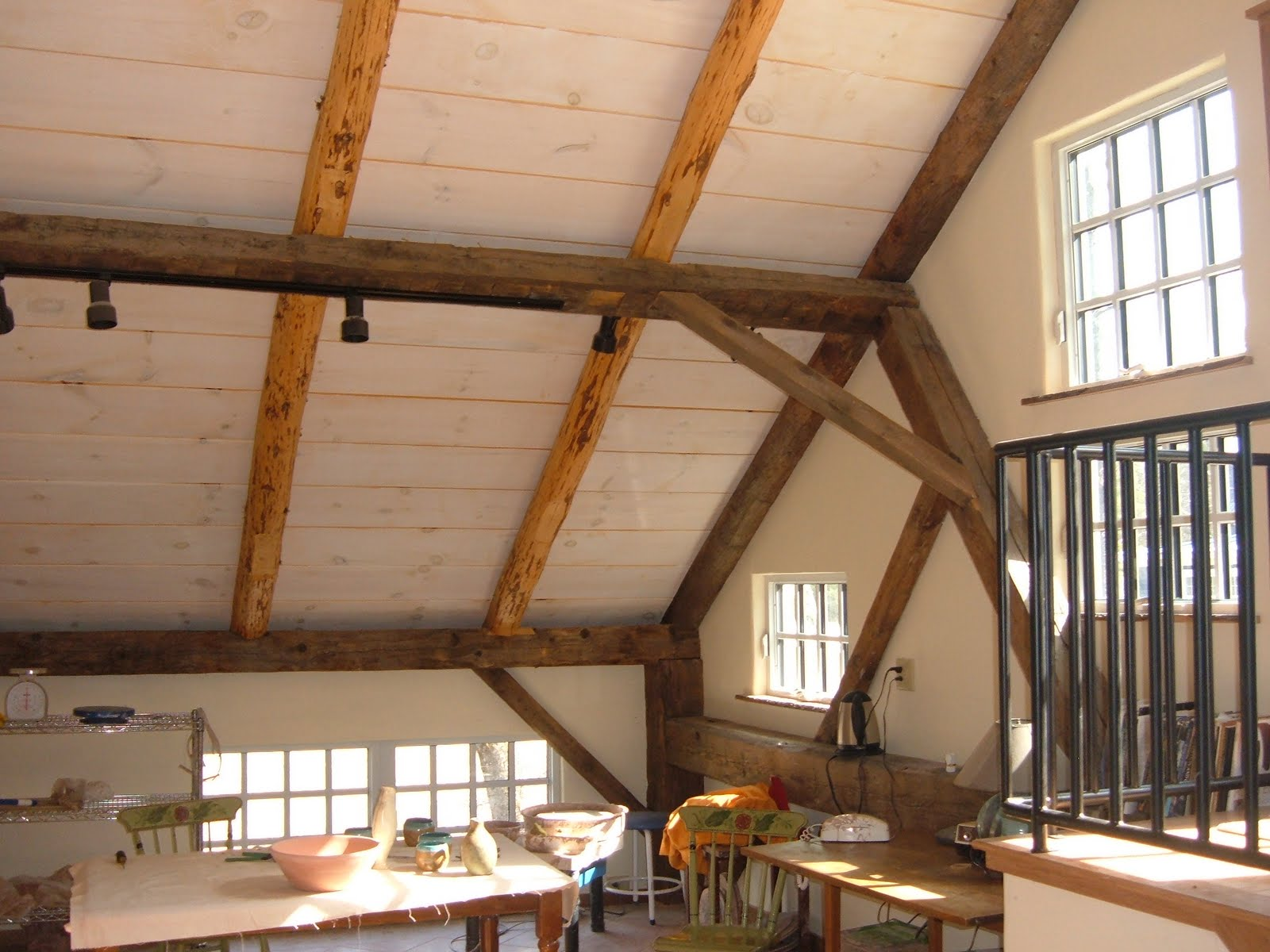 The new rafters were consolodated to the studio.