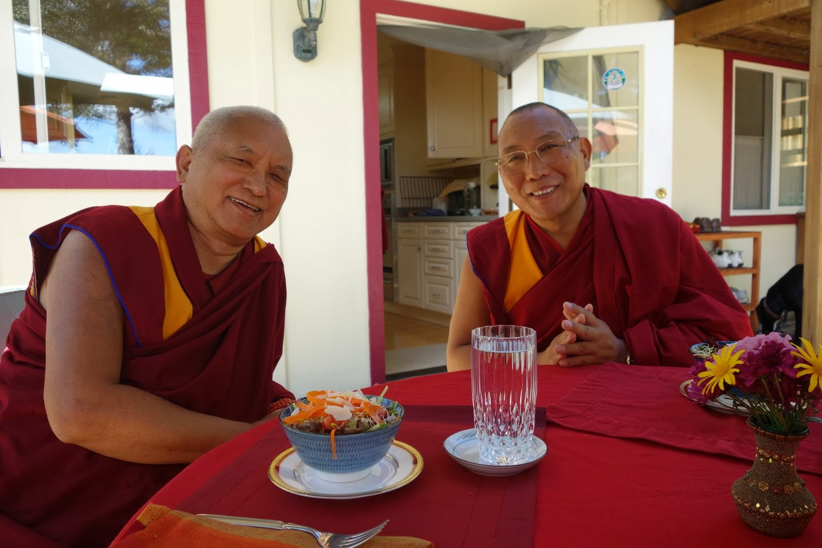 Lama Zopa Rinpoche and Dagri Rinpoche having lunch at Kachoe Dechen Ling, CA, USA Oct 2013. Photo: Ven. Roger Kunsang