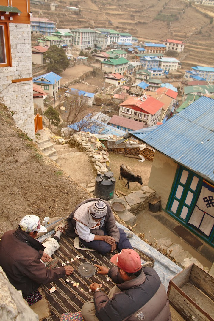 Sherpas playing on the streets of Namche Bazaaar