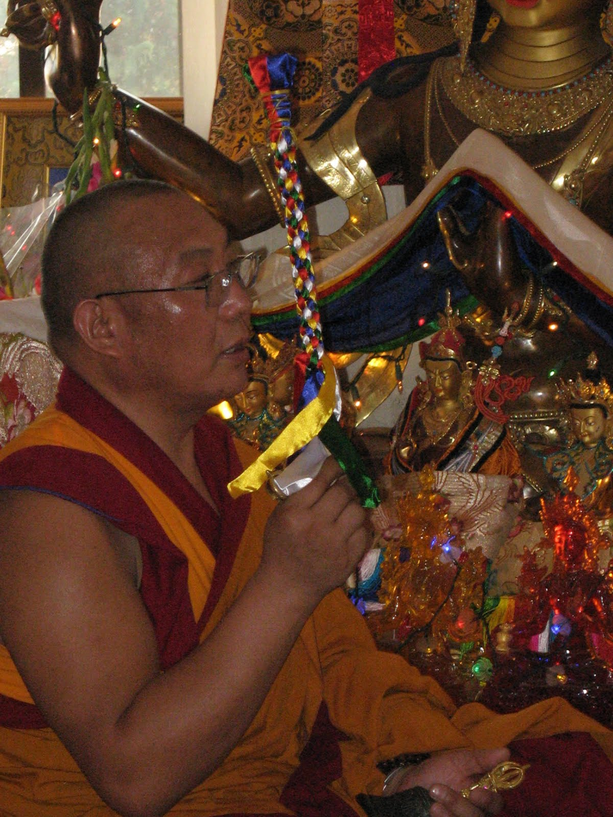 Dagri Rinpoche offering special long life puja to Lama Zopa Rinpoche, Kopan Monastery, June 2009.