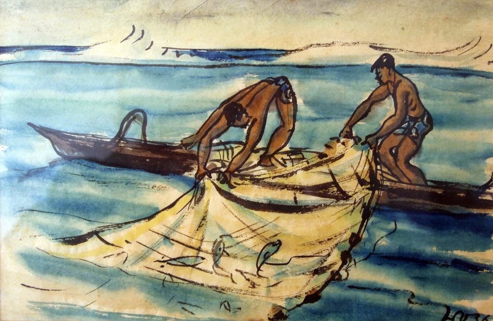 Tahitian Fishermen, watercolor, 1936, family-owned