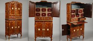 Изумительный кабинет 1780 г. Палисандр, маркетри, бронза, выдвижные ящики. 20000 евро.