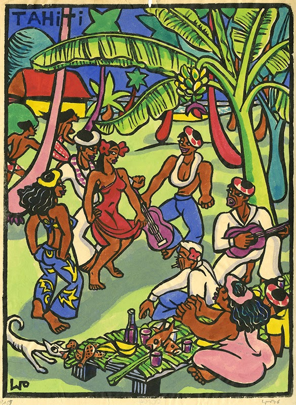 The fest, hand colored block print, 1946