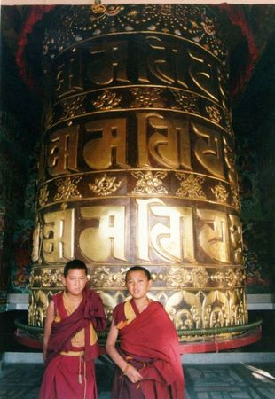 Prayer wheel at Kopan Monastery, Nepal.