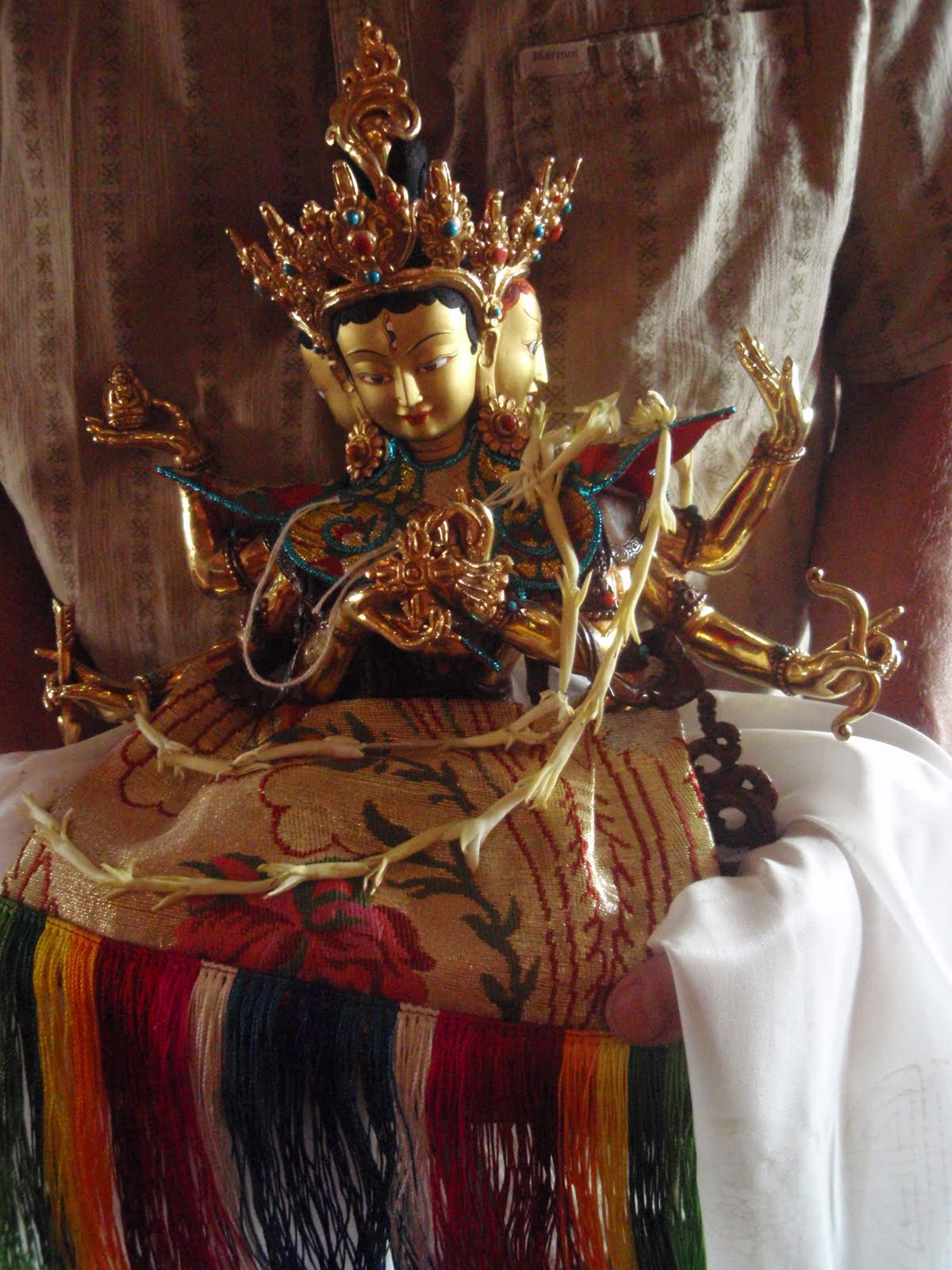 Long life statue being offered Kopan Monastery 2008.