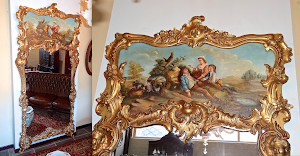 Настенное зеркало в стиле барокко. ок.1900 г. Холст, роспись, дерево, резьба, позолота. 116/237 см. 3300 евро.