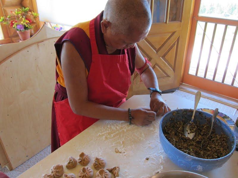 Rinpoche making momos
