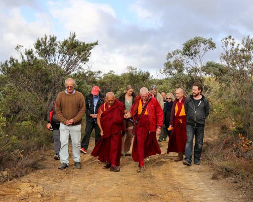Lama Zopa Rinpoche touring De-Tong Ling Retreat Centre, Kangaroo Island, Australia, May 2015. Photo by Ven. Thubten Kunsang.