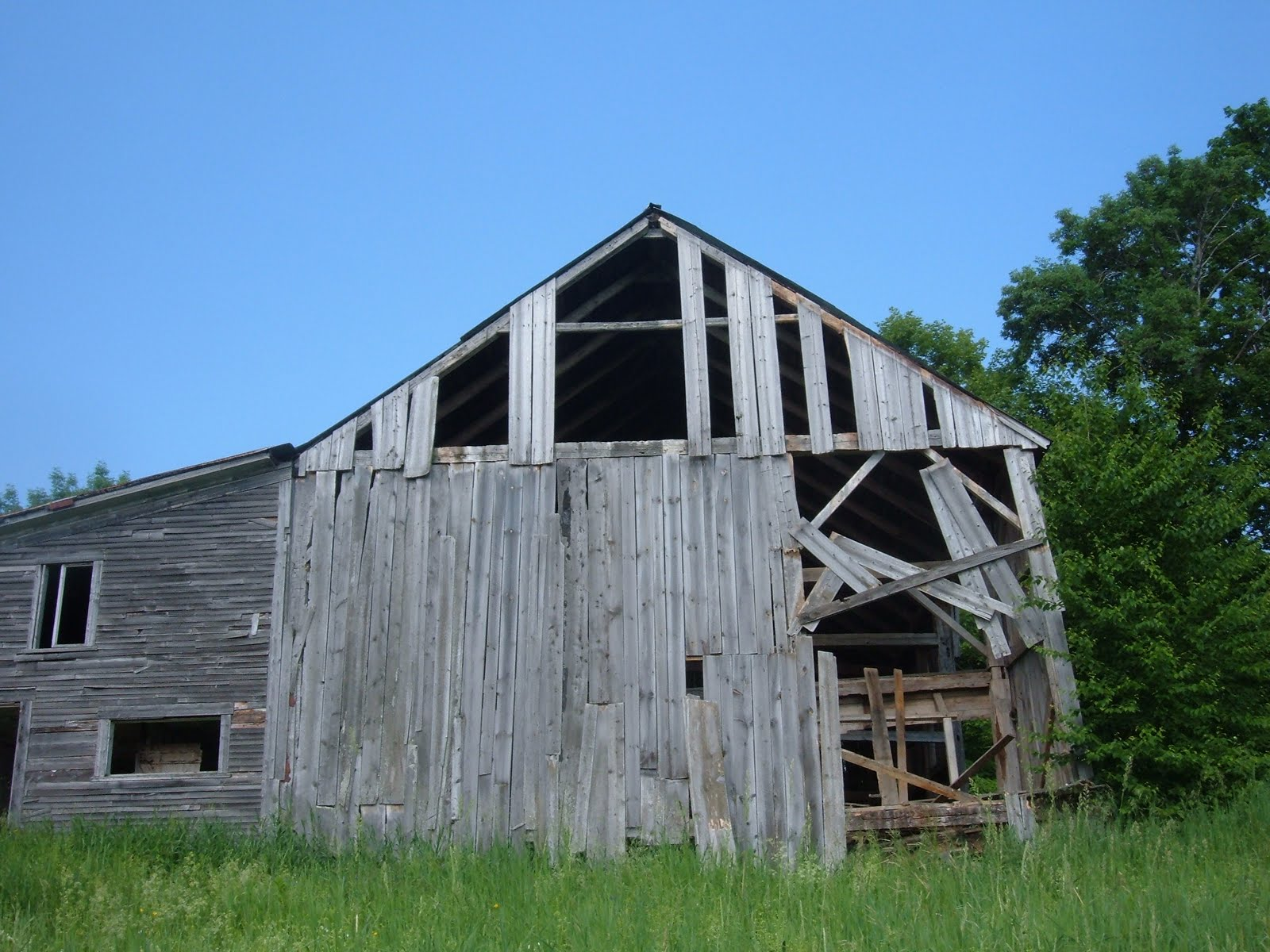 This gable was severely deteriorated from water infiltration.  Most of the timbers in this wall had to be replaced.