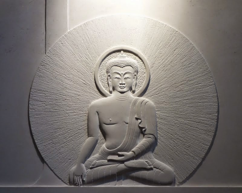 Buudha in relief at Jamyang Buddhist Centre, London, UK, July 2014. Photo by Ven. Roger Kunsang.