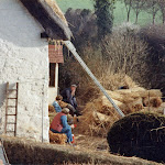 Re-thatching Well Cottage. November 1983.