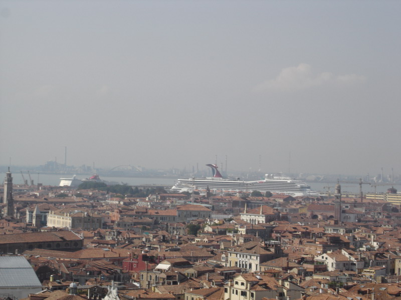 A cruise ship from the top of the bell tower