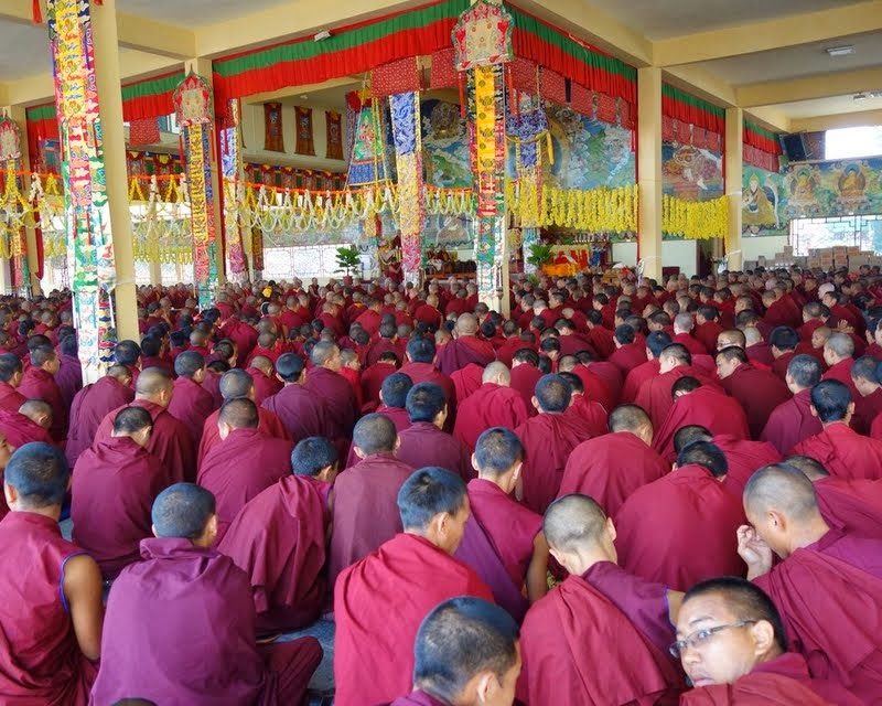 During long life puja for all the former abbots, the current abbot and the most senior monks who were at Buxa Duar, including Lama Zopa Rinpoche, Sera Je Monastery, India, January 2014. Photo by Ven. Roger Kunsang.