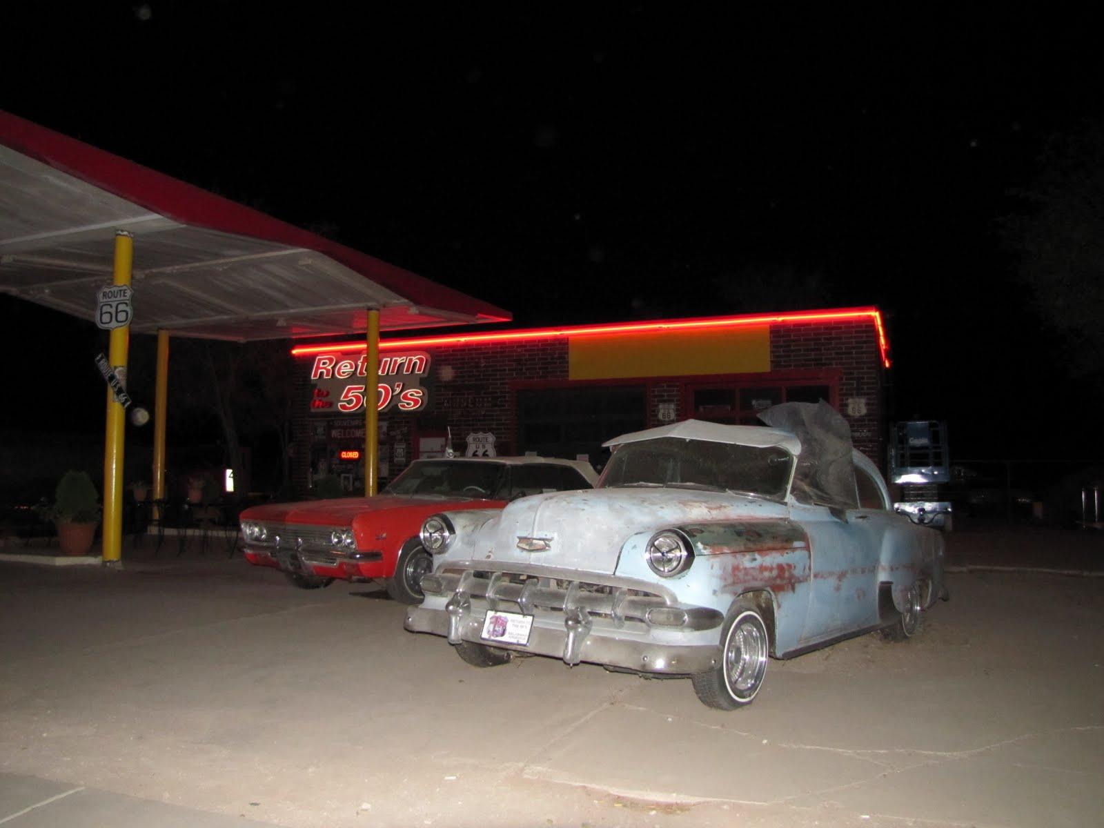 Route 66, Arizona, 1966 Chevrolet Impala, 1954 Chevrolet Bel Air Convertible