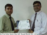 1st Prize Indoor Games ,Glass Golf -Biswajit Mondal 2014 -2015