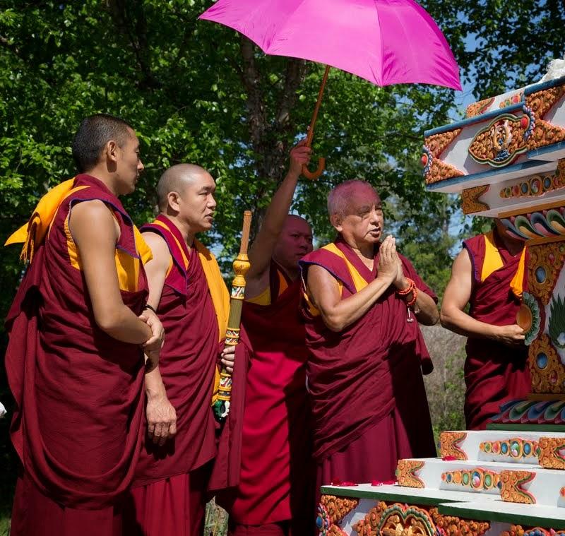 Lama Zopa Rinpoche blessing the Kadampa stupa at Kadampa Center, Raleigh, North Carolina, US, May 3, 2014. Photo by David Strevel.