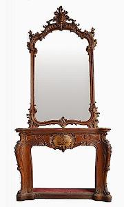 Красивый антикварный камин с зеркалом. 19-й век. Резьба, позолота, ручная роспись. 145/42/332 см. 14000 евро.