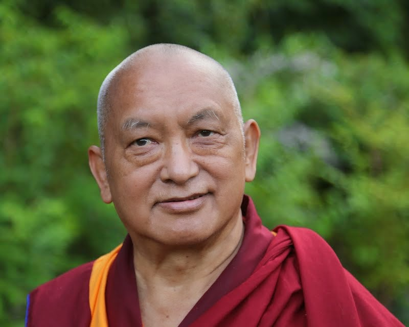 Lama Zopa Rinpoche visiting a park in Leeds, UK, July 2014. Photo by Ven. Thubten Kunsang.
