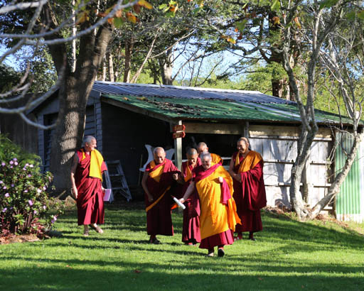 Lama Zopa Rinpoche arriving to teach at Mahamudra Centre, New Zealand, May 2015. Photo by Ven. Thubten Kunsang.