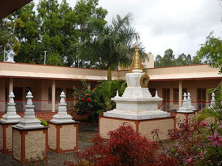 Stupas at IMI house in Sera Je Monastery
