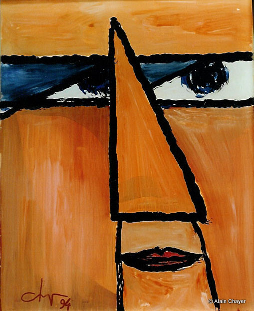 056 - Bagdad Café - 1994 20 x 25 - Acrylique sur résine peint sur l'envers